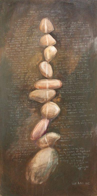 Breathe Believe, Mixed media on wood, 670 x 340 mm, 2012