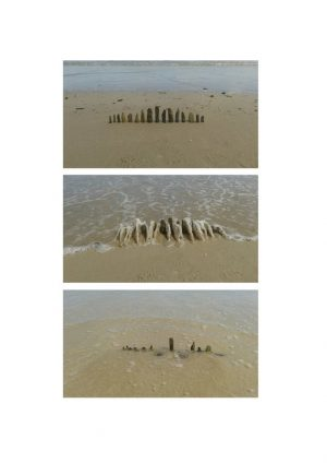 Three photos of arranged rocks on the beach with waves coming in